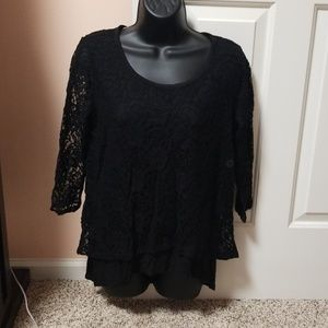 New York &Company Lace Overlay Top NWT